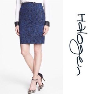 Halogen Blue Leopard Print Pencil Skirt